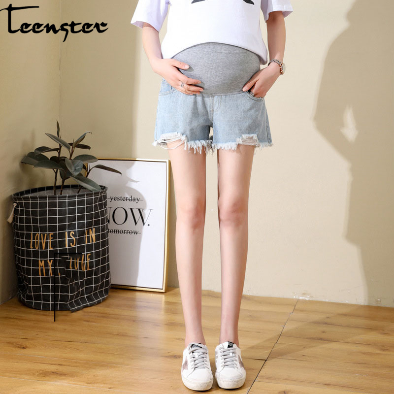 Teenster Pregnant Clothes Maternity Jeans Summer Broken Hole Denim Shorts Support Belly Trousers for Pregnant Women Grossesse image