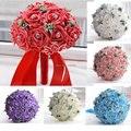 2016 Nuevo en stock Magnífico Hecho A Mano de flores de La Boda Blanco de dama de Honor Nupcial Ramos de flores artificiales de Rose Wedding Bouquet FE01
