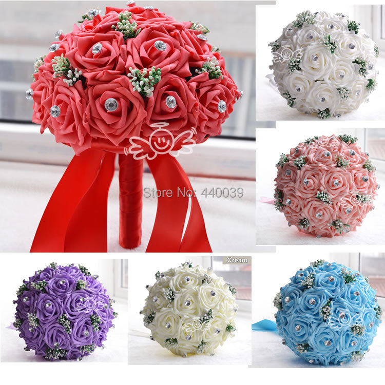 2015 New in stock Gorgeous Handmade Wedding flowers White Bridesmaid Bridal Bouquets artificial Rose Wedding Bouquet FE01