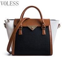 Panelled Women Bag Lock Trapeze Women Casual Totes 2017 Luxury Leather Handbags Designer Famous Brand Crossbody