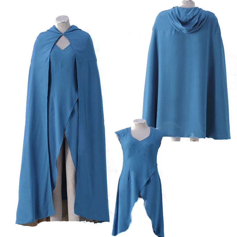 New Version Game of Thrones Daenerys Cosplay Costume Blue Dress Custom Made Adult Any Size Female Free Shipping