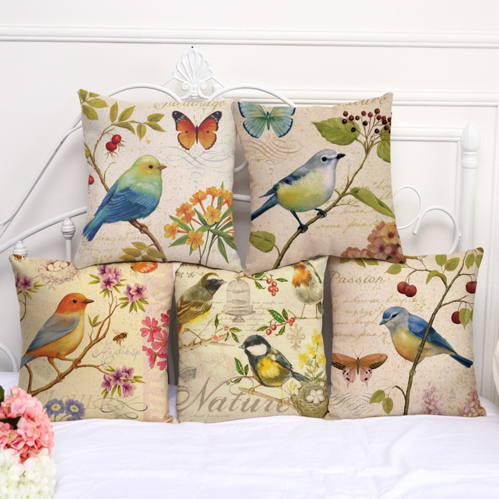 "Cotton Linen Square 18"" Birds and Butterfly Sofa Decorative Cushion Covers Living Room Chair Soft Pillow Case Animal Great Gift"