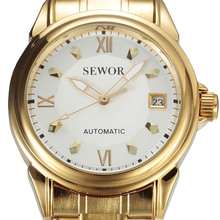 2016 SEWOR Gold Automatic Watch Men Auto Date Calendar Stain
