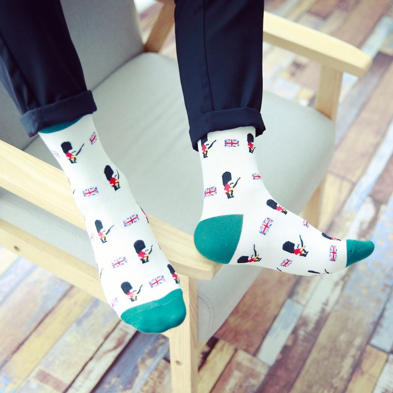 New Fashion Man Cotton Socks British Soldiers Cartoon Absorb Sweat Man Socks EUR39-44