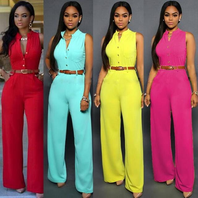 #0846 2016 With belt Candy color Overalls for women Sexy Rompers womens jumpsuit Summer Women jumpers and rompers Long Beyonce