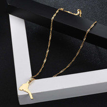 Shamty Trendy Small Size Smooth Eritrean Map Necklace Pendants 50cm Chain Pure Gold Color Jewelry Ethiopian Eritreans Gift Items