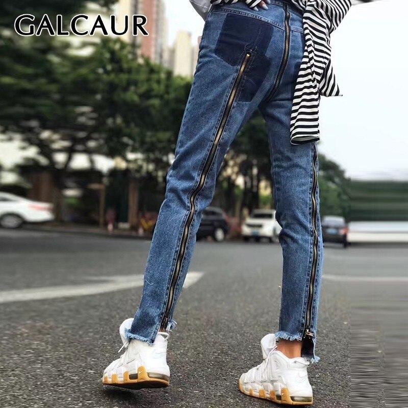 GALCAUR Summer Denim Jeans For Women High Waist Hit Color Slim Irregular Hem Long Pants Female Fashion Clothing 2019 New