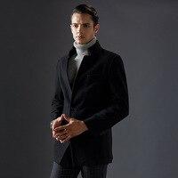חדש Mens מעילי מעיל חורף צמר חם ארוך עבה צווארון דוכן אופנה מעייל לגבר