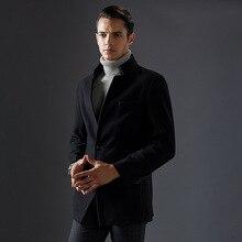 Новые Длинные Толстые Теплые Мужские Шерстяные Зимнее Пальто Куртки Мода Стоять Воротник Пальто Для Человека