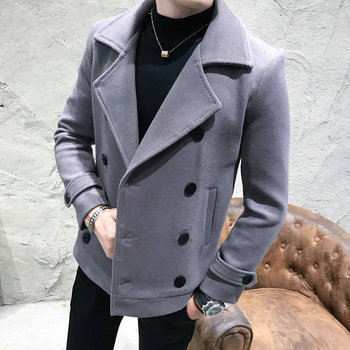 2019 New Autumn Winter Men's short Woolen Coat Double-breasted Design Business Casual Man Warmth Overcoat Windbreaker