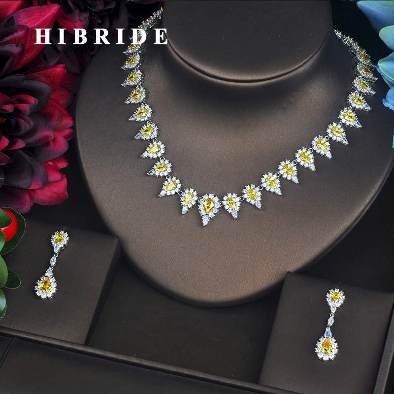 HIBRIDE Fashion Sparkly Yellow Cubic Zirconia Pave Dubai Full Jewelry Sets For Women Earring Necklace Set Christmas Gift N-321 gift n home