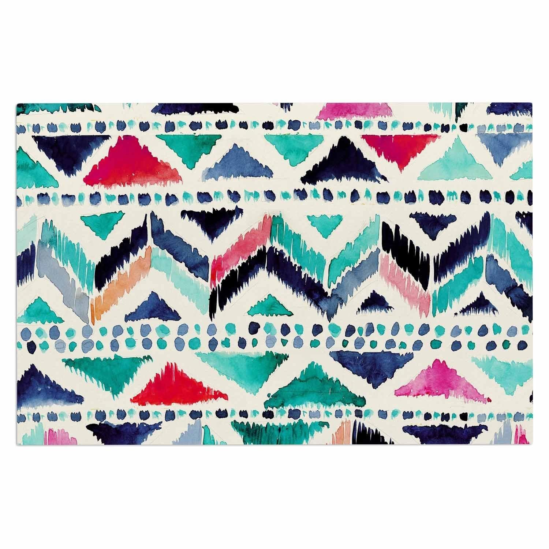 kess inhouse crystal walen celestial tribal stripe teal chevron decorative door mat 2u0027 x 3u0027 floor