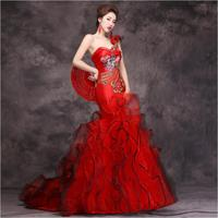 Red Women Chinese Wedding Vestido Female Sexy Long Qi Pao fishtail modern Cheongsam Chinese Traditional Dress Women Qipao