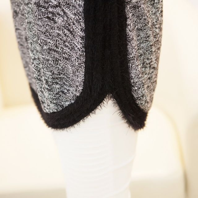 New Fashion Autumn  Brand Female Mohair Pullover Loose Sweater Knitted Long Sleeve O-neck Gray Pullovers Hot Sale Sweater 22