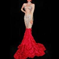 Блестящие Большие кристаллы платье длинным шлейфом Для женщин на день рождения Костюм Пром праздновать телесного цвета красный цветок хво