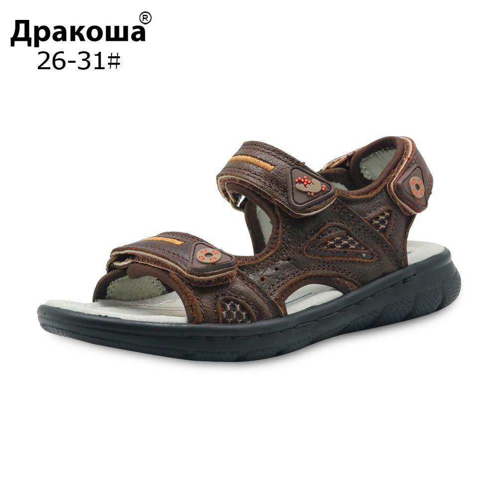 Apakowa Boys Summer Orthopedic Sandals Genuine Leather Kids Beach Flat Sandals Cowhide Causal Kids Soft Shoes New EU Size 26-31