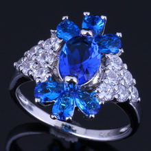 Majestic Plant Blue Cubic Zirconia White CZ 925 Sterling Silver Ring For Women V0634
