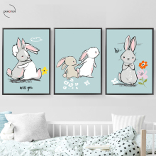 Animal Nordic Canvas Picture Minimalist Cute Cartoon Rabbit Warm Painting Printed Decorative Kidsroom No Photo Framed
