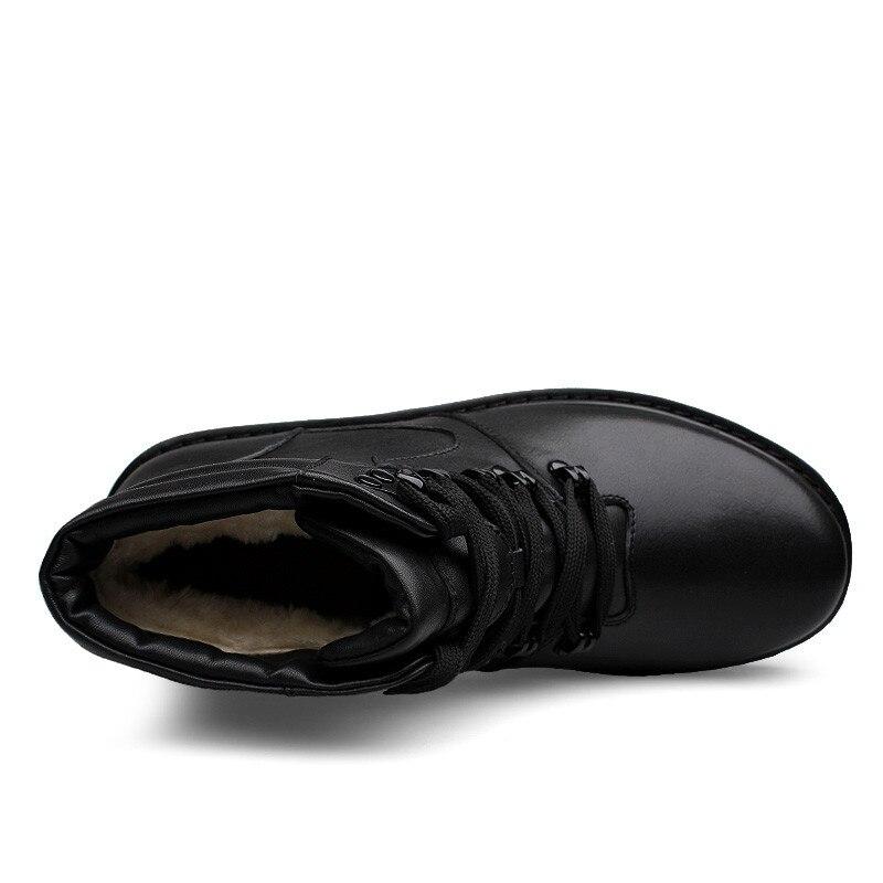 2017 Moda Livre Ankle Genuíno Sapatos 100 Dos Inverno Couro Preto Quentes Homens Ao Ar Boots Botas Grande Pelúcia De 37 47 Neve Tamanho Super CRxZ8tqq