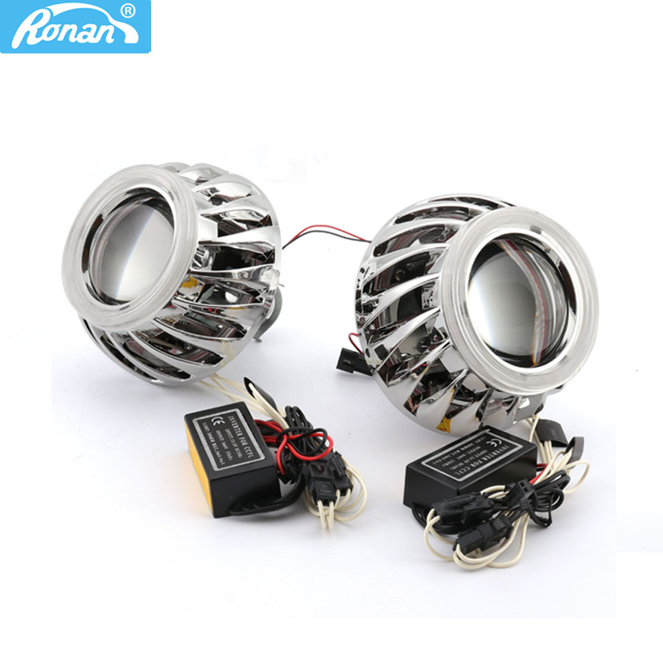 RONAN 2.5 Double Angel Eyes CCFL Bi-xenon HID Projector headlight Lens LHD RHD use bulb H1 with H4 H7 adapter car styling car styling automobiles wst ccfl angel eyes halo hid bi xenon lens projector headlight retrofit h1 h4 h7 headlamp lenses lhd rhd