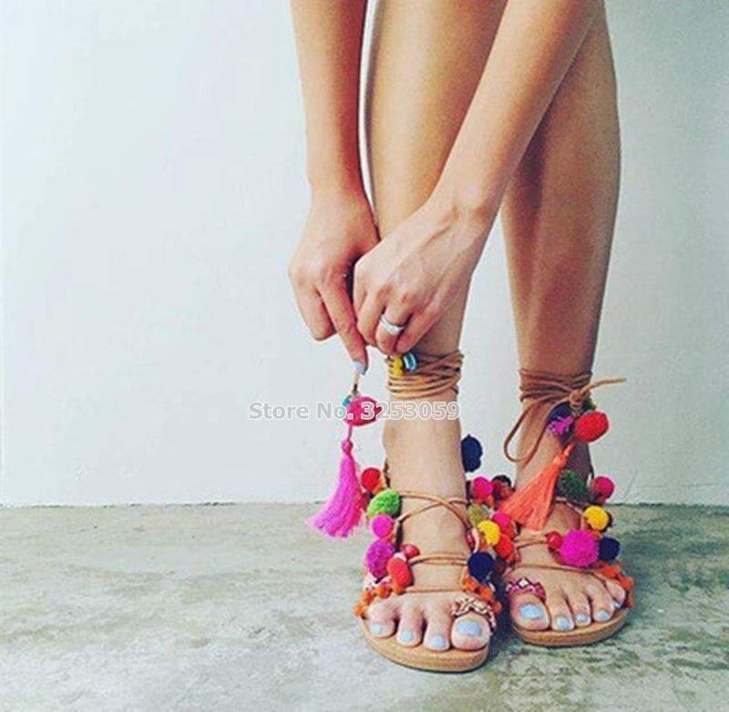 Plat Bohème Fringe Pom Flops up couleur Sandales Ballon Plage Sandale Gland Coloré As De Multi Robe Picture Chaussures Style Flip Almudena Dentelle qXxIAdd