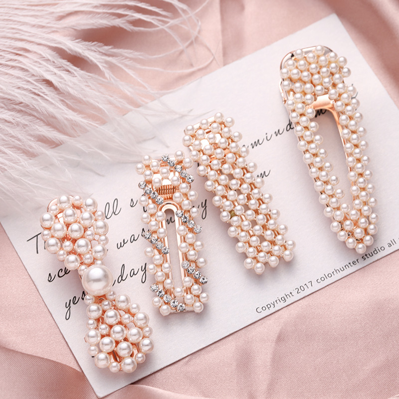 High Quality Pearl Crystal Waterdrop Heart Hair Clip Women Elegant Hairpin Barrettes   Headwear   Headband Fashion Hair Accessories
