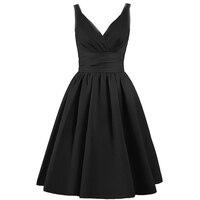 LOVEBATU Brand Women Summer V Neck Short Plus Size Simplee Vintage Sleeveless Party Dress