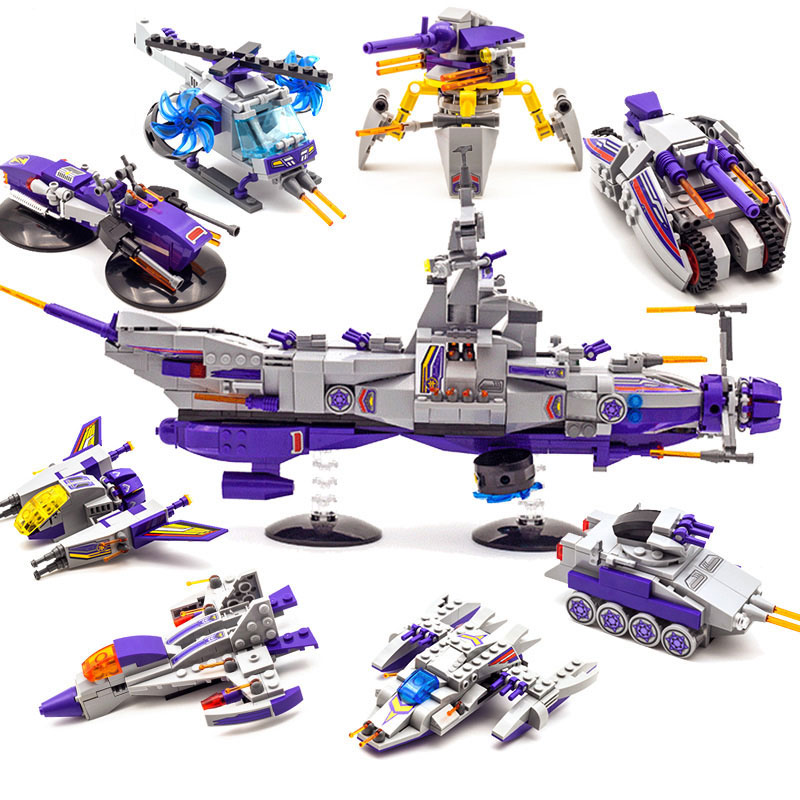 Enlighten 8 in 1 Space War 1402 Warship Military Building Blocks Sets Assembly Children Educational Toys Christmas Kids Gift military star wars spaceship aircraft carrier helicopter tank war diy building blocks sets educational kids toys gifts legolieds