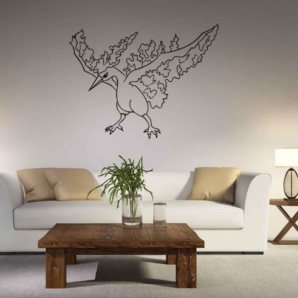57 43cm Pvc Pokemon Bird Wall Sticker Bedroom Decor Removable Waterproof Diy Child S Craft Gift