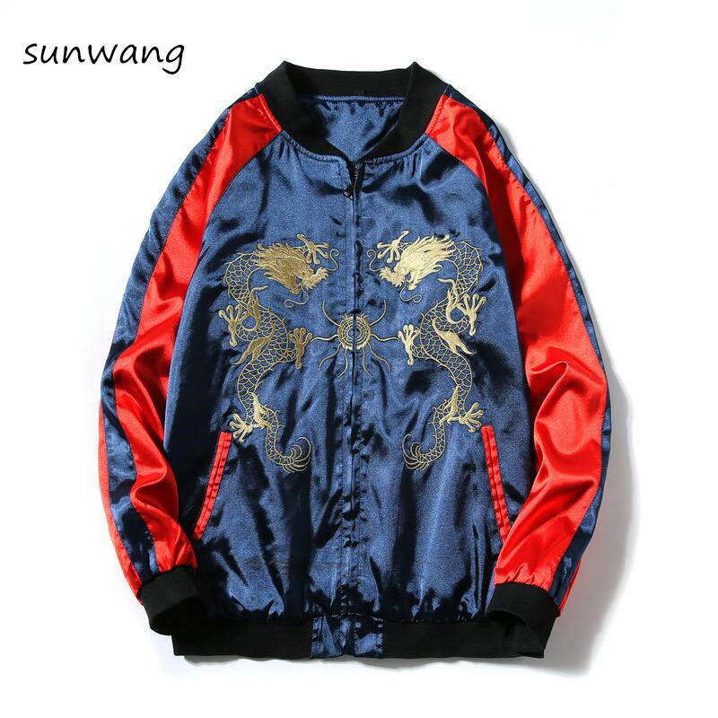 2019 Fashion Chinese Cool Jackets Dragon Embroidery Men Coats Harajuku Casual Mens Clothes Zipper Vintage Baseball Jacket Coat