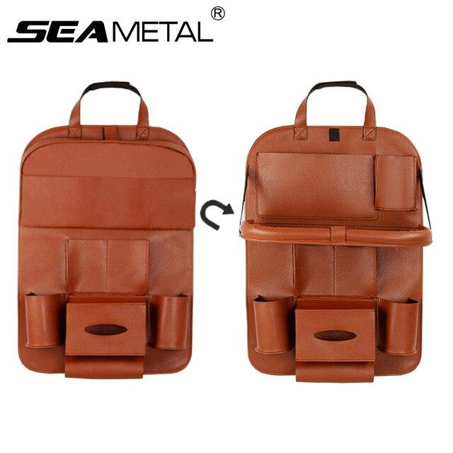 Car Seat Back Organizer Storage Bag Travel Holder Goods Universal PU Leather In Auto