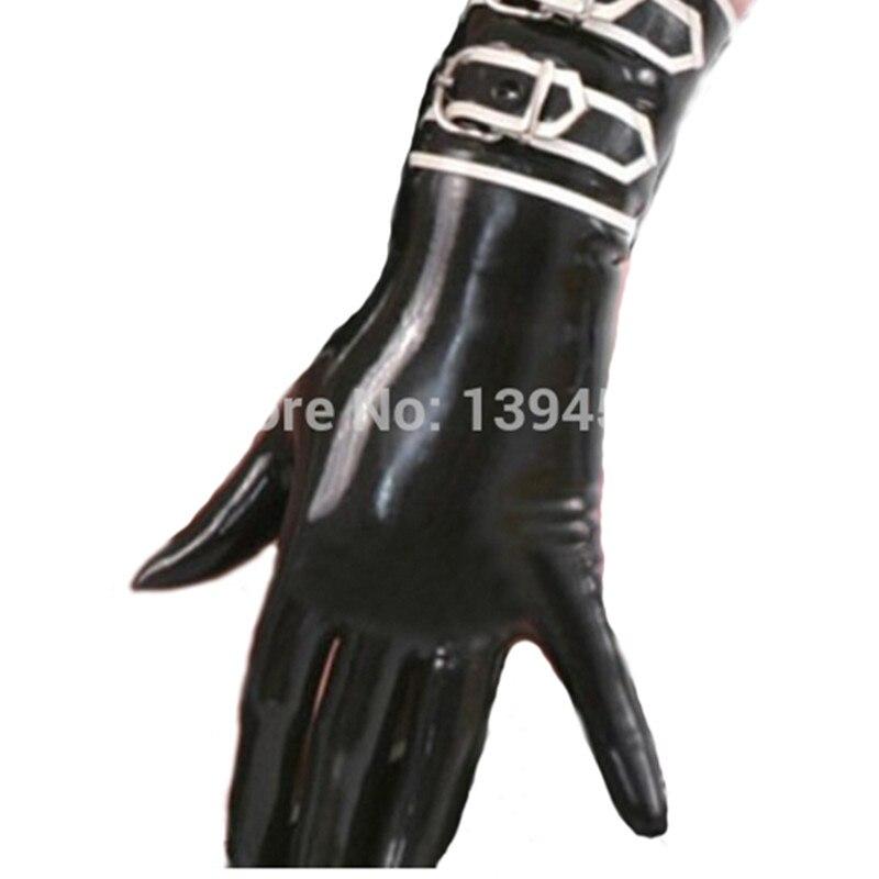 Sexy exotique lingerie en plein air femmes hommes unisexe club noir latex à la main gants courts avec boucles gants cekc slim zentai fétiche
