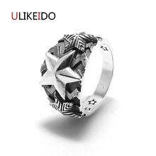 100% Pure 925 Sterling Silver Jewelry Star Rings Punk Mens Signet Ring Wide Version Fashion Christmas Gift  416