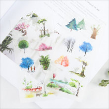 6pcs/lot Watercolor trees children Paper diy Decorative Sticker Diary Album Label Sticker Scrapbooking Sticker Stationery