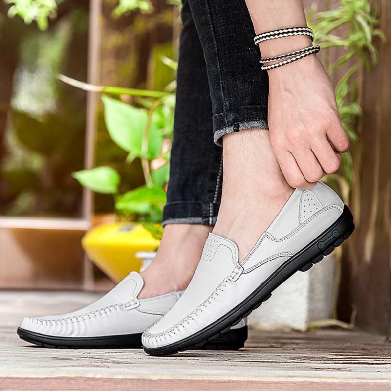 on Conducción Casual Negro Mocasines Transpirable Cuero Hombres Zapatos Verano Hombre Sapatos De blanco Genuino Northmarch Para Slip P4fgwn