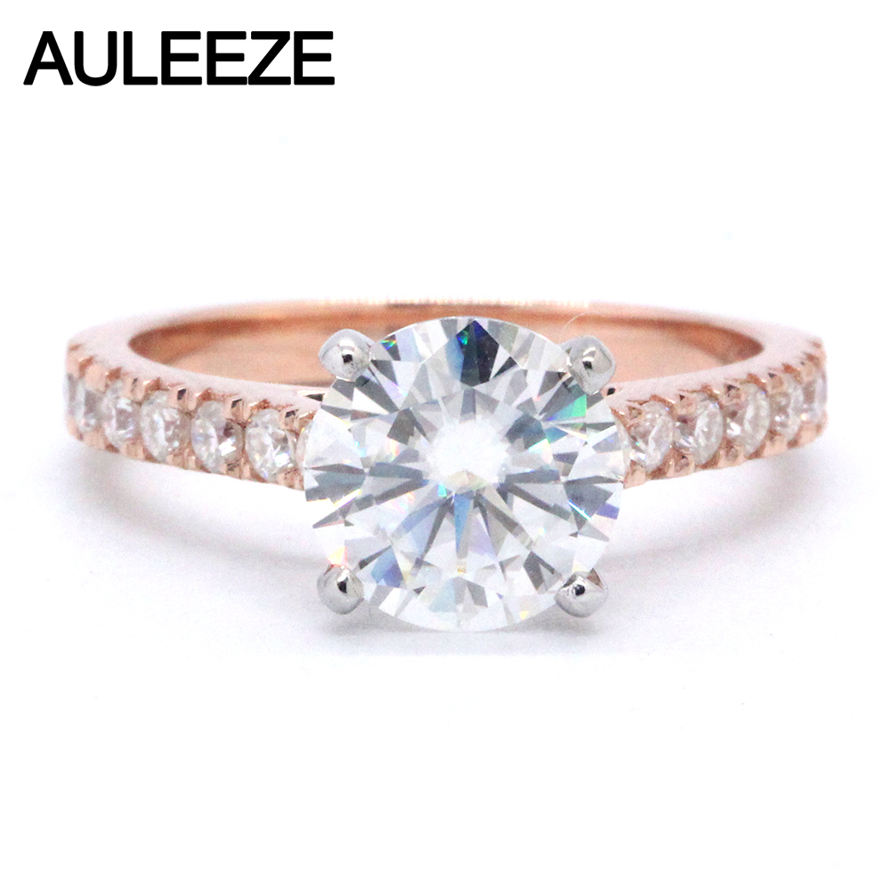 AULEEZE 1.5CT Moissanite Engagement Ring Lab Grown Diamond Solid 14K Two Tone Gold Rings For Women 585 Gold Classic Wedding Ring