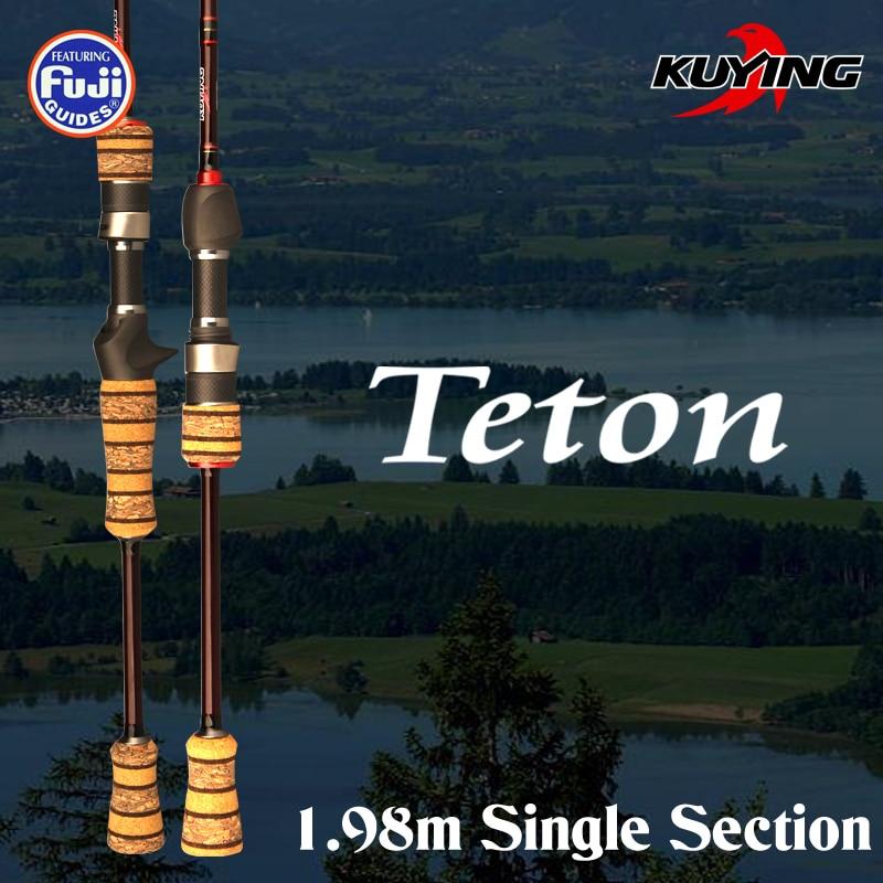 KUYING TETON L 1.98m 1 Section Casting Spinning Carbon Fiber Fishing Rod Cane Pole Stick Medium Fast Action FUJI Spare Parts