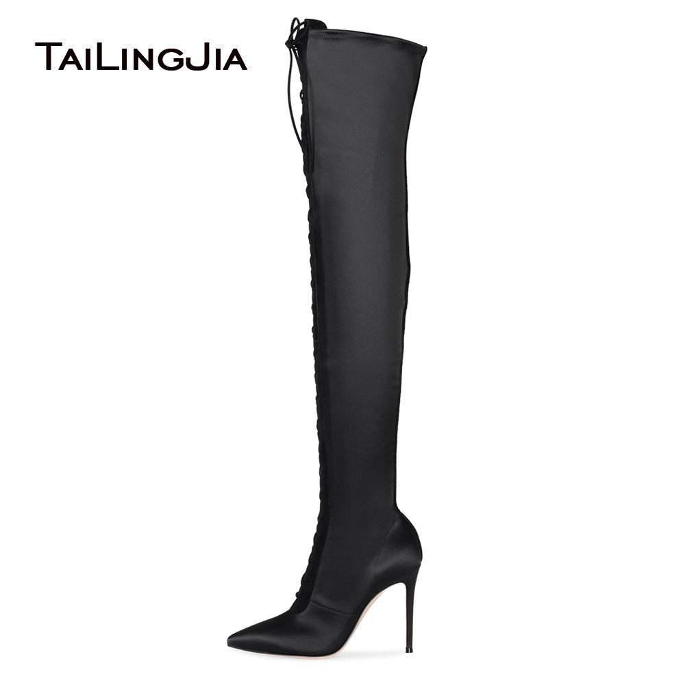 Pointed Toe Lace Up Black Satin Over The Knee High Boots Women High Heel Thigh High Boots Ladies Heeled Winter Shoes Big Size jialuowei women sexy fashion shoes lace up knee high thin high heel platform thigh high boots pointed stiletto zip leather boots