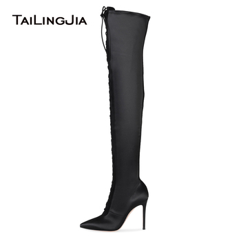 Pointed Toe Lace Up Black Satin Over The Knee High Boots Women High Heel Thigh High Boots Ladies Heeled Winter Shoes Big Size