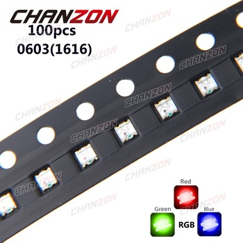 100pcs 0603 (1616) RGB LED Common Anode Tricolor Red Green Blue 0606 Surface Mount Chip SMD SMT LED Light Emitting Diode Lamp