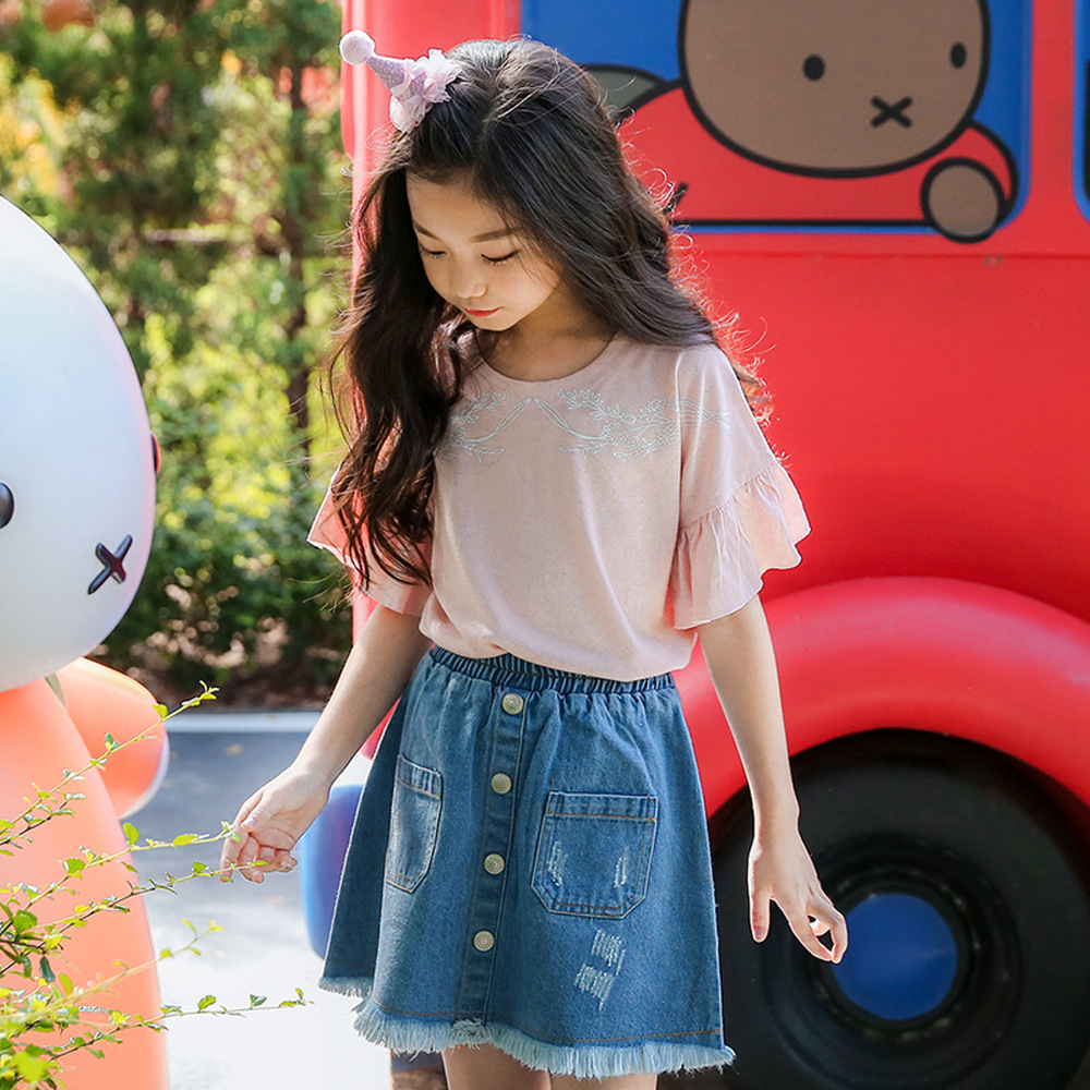 2018 New Summer Kids Girls Clothing Sets Teens Fashion Top T-Shirt + Denim Skirt Girls Fashion Outfits Clothing 2Pcs Set CC709 newborn toddler girls summer t shirt skirt clothing set kids baby girl denim tops shirt tutu skirts party 3pcs outfits set