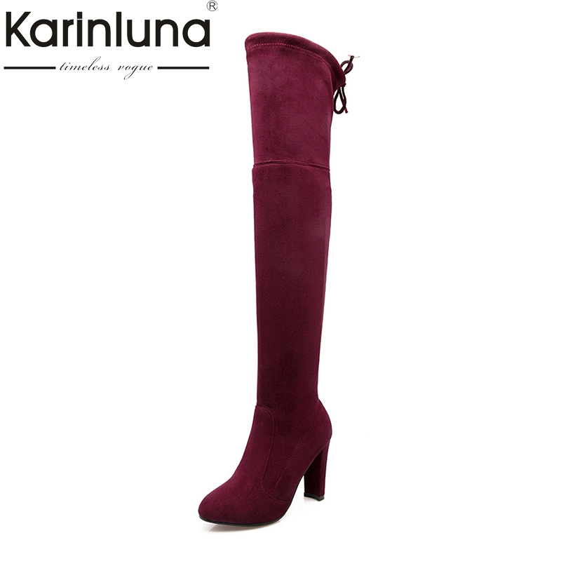 KarinLuna Brand Design Big Size 34-43 High Heels Women Shoes Sexy Round Toe Slip On over the knee party Boots Woman karinluna big size 31 47 office lady shoes women med heels slip on elegant round toe dating woman pumps pink black