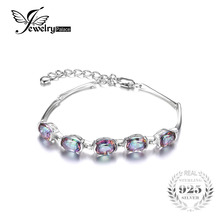 Mystical jewelrypalace concave stunning topaz oval sterling rainbow solid genuine bracelet