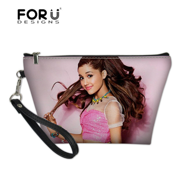 FORUDESIGNS Famous Ariana Grande Printing Women Make Up Bag Travel Organizer for Cosmetics Toiletry Bag for Girls PU Leather