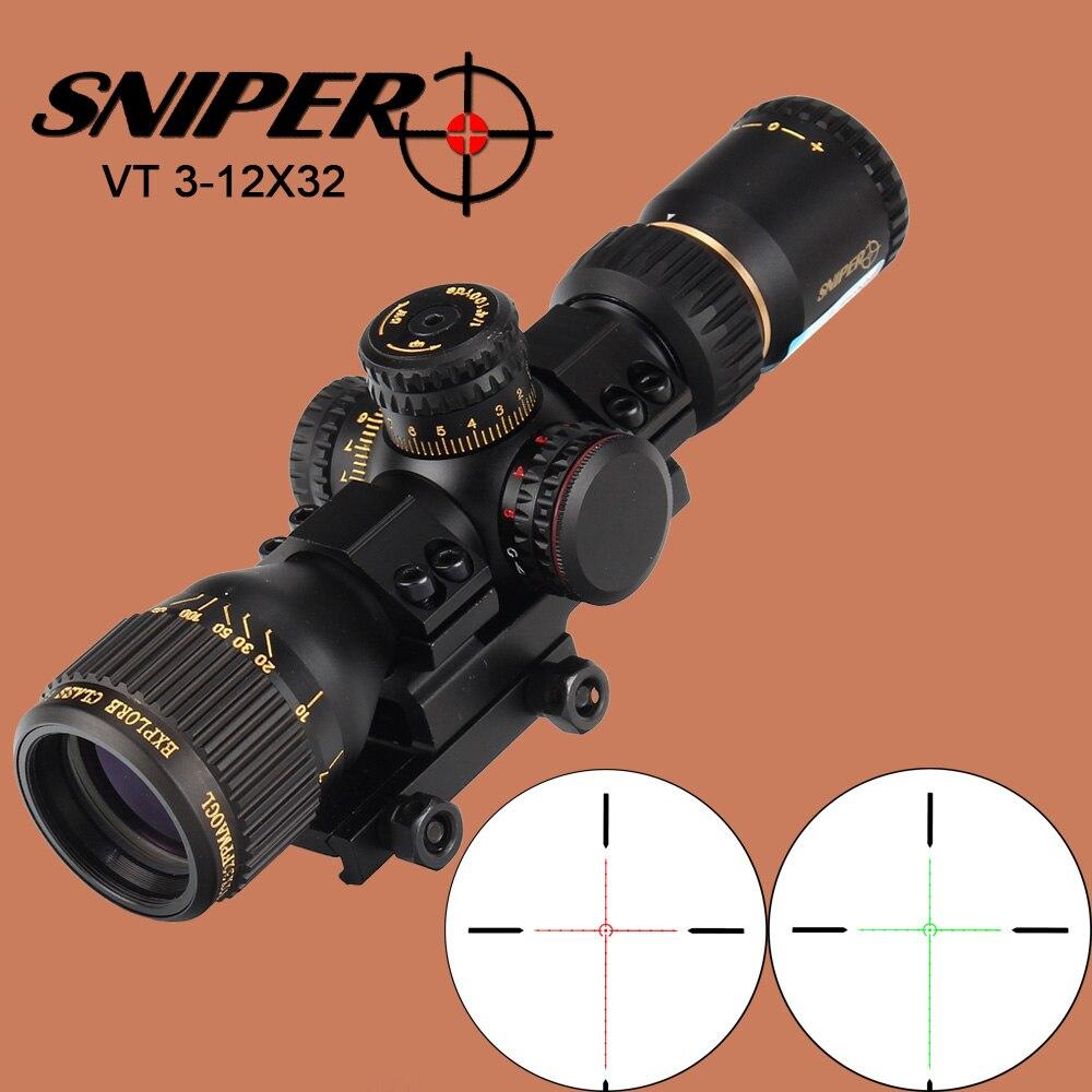 Снайпер VT 3 12X32 Охота компактный оптический прицел тактический прицел Стекло гравированный сетка красный зеленый llluminate прицел