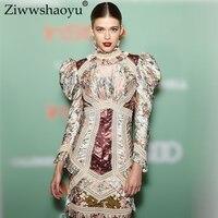 Ziwwshaoyu Винтаж печати мини платья стоят кружева лоскутное раза Flare рукавом платье весной и летом взлетно посадочной полосы новые женские