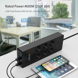 Image 4 - NTONPOWER Network Filter Smart Power Strip Multi Plug 5 USB Socket Surge Protector 1.5m Power Cord Wall Charger Adapter for Hom