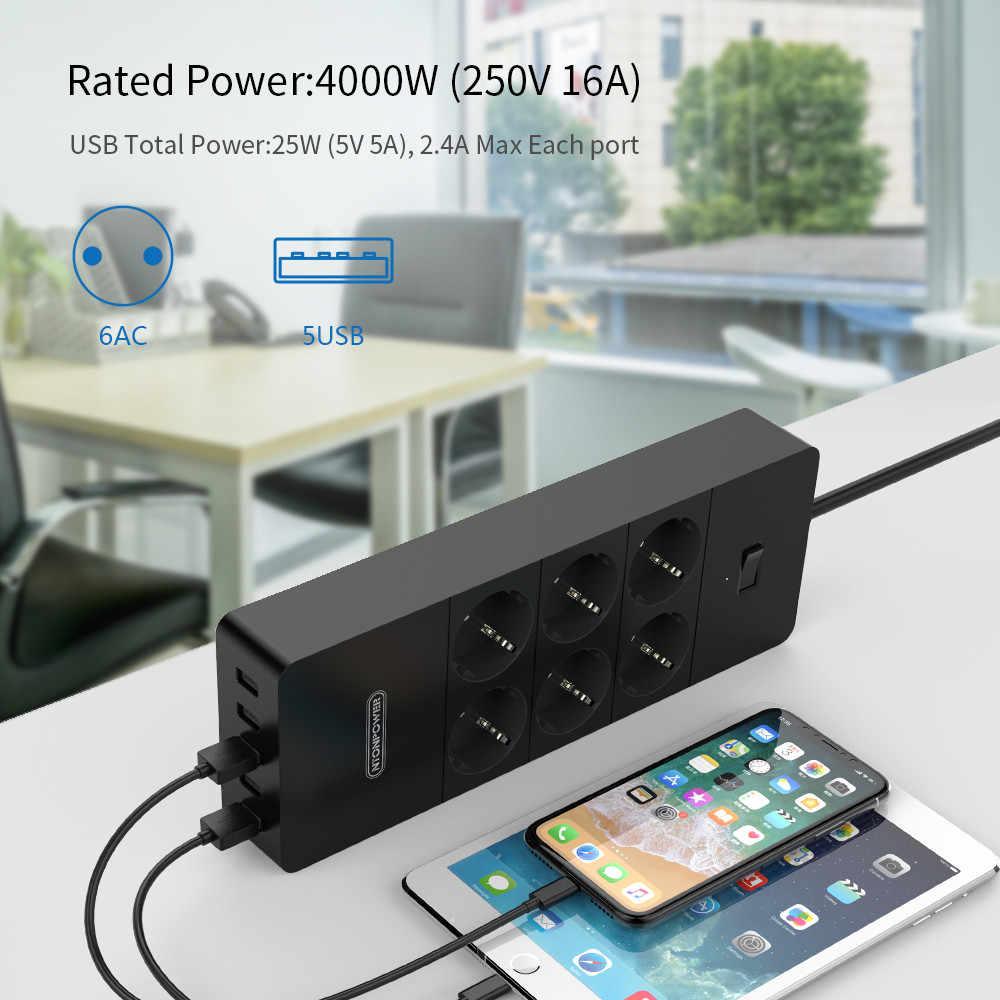NTONPOWER filtr sieciowy inteligentna listwa zasilająca Multi Plug 5 gniazdo USB wzrost Protector-1.5m przewód zasilający ładowarka ścienna Adapter do Hom