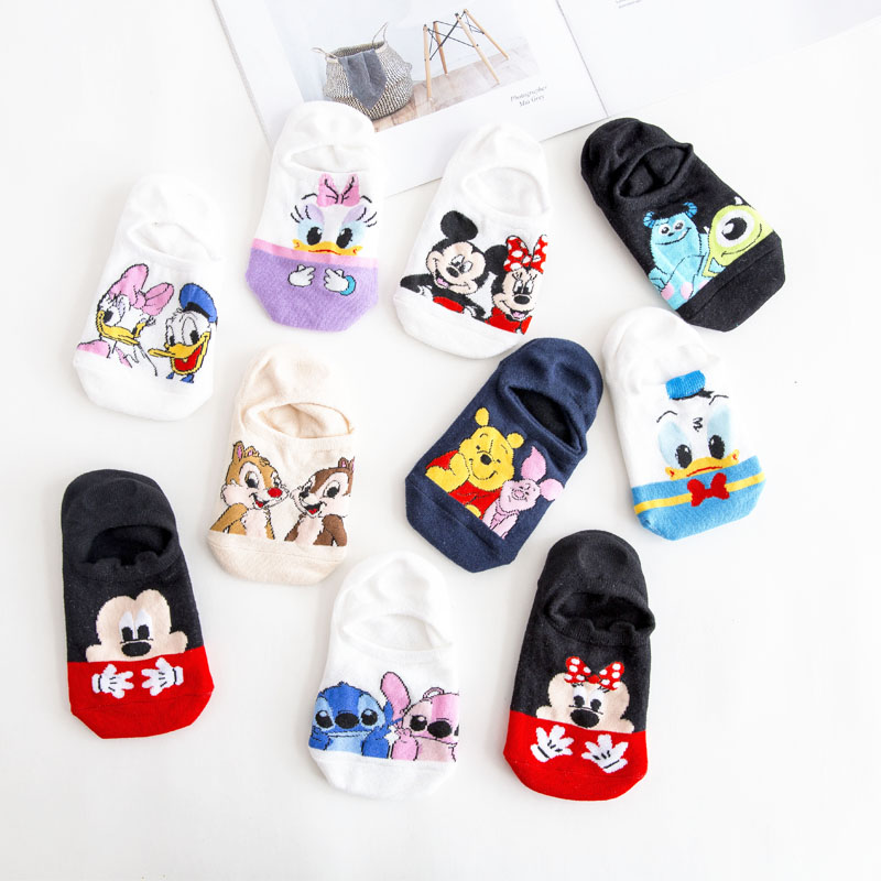 Dinsey Summer Casual Women Socks Korea Women Animal Cartoon Mouse Ankle Socks Cute Invisible Socks Thin Cotton Stopki Boat Socks