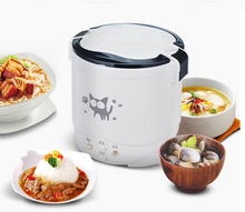 1L rice cooker used in house 110v to 220v or car 12v to 24v enough for two persons with english instructions